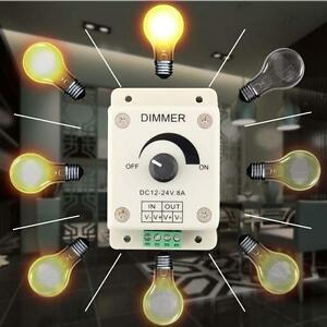 12-24V-8A-LED-Light-Protect-Strip-Dimmer-Adjustable-Brightness-Controller-NEW-WT
