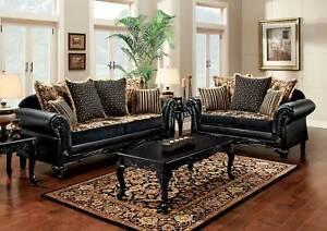 New Living Room 2 Piece Wood Trim Black Tan Fabric Sofa Couch Loveseat Set Gdc Ebay