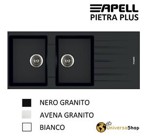LAVELLO-CUCINA-INCASSO-2-VASCHE-GRANITO-AVENA-BIANCO-NERO-116-CM-PIETRA-PLUS