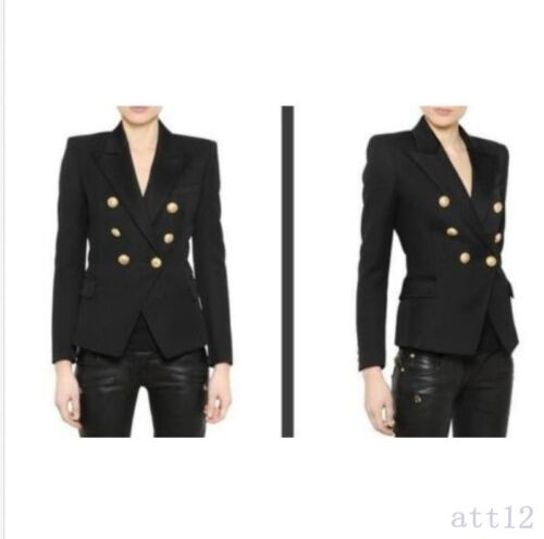 New Button Blazer Coat inspireret Gold 2019 Koreansk Womens dobbeltbrystet YHEwxp