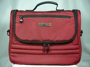 Red-Oleg-Cassini-Soft-Carryon-Duffle-Gym-Cosmetic-Travel-Luggage-Bag-Hanger-Legs