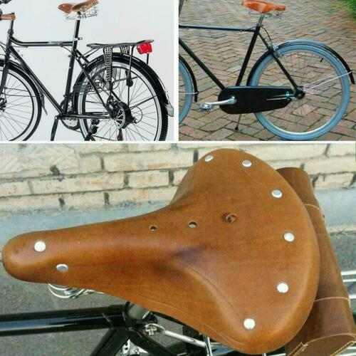 Retro Vintage Leather Bicycle Saddle Damping Classic Seat Cycling Parts Cus M2J3