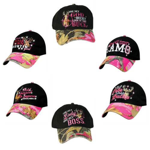 Women/'s Black Pink Camo Hat Country Muddy Southern Girl Hunt Deer Hunting Hat