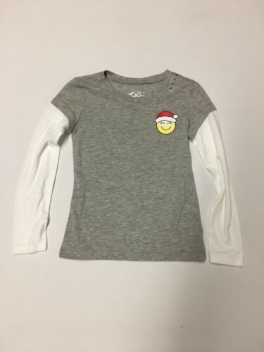 Justice Girls Size 6 Christmas Shirt Gray NWOT
