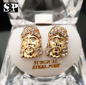 bc47195a6 MEN ICED OUT 14K GOLD PLATED HIP HOP CZ JESUS FACE MICRO PAVE ...
