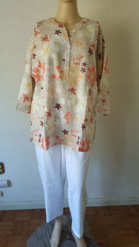 Linen Pant Set Woman Within Plus Ivory Floral Cruise Outfit 3//4 Sleeve Crop Pant