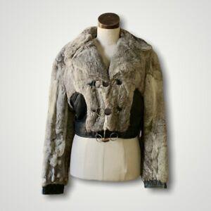 VINTAGE Mongolian Rabbit Fur Coat Leather Crop Jacket WOW