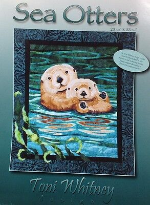 "SEA OTTERS Art Quilt Pattern by TONI WHITNEY 20"" x 23"" raw edge applique"