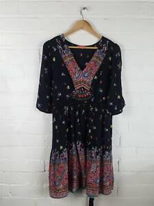 Monsoon-Fusion-Black-Red-Paisley-Floral-Gypsy-Style-Tunic-Dress-Boho-Hippy-UK-14