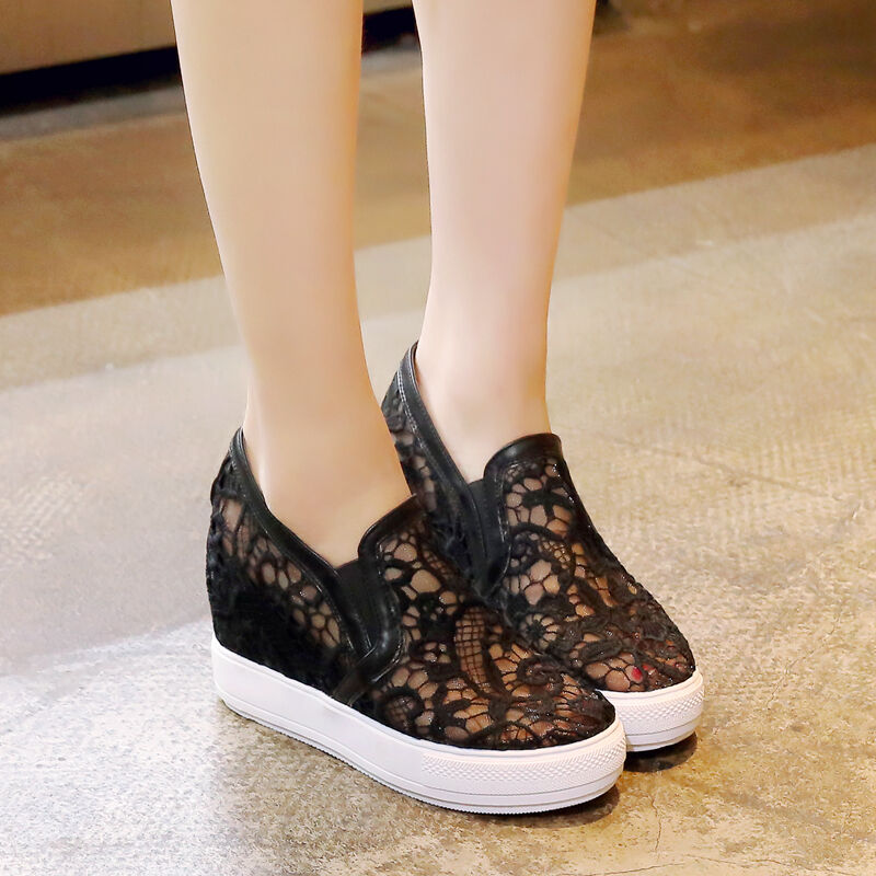 Womens Sneaker Lace Flowers Breathable Hollow Out Hidden Wedge Platform shoes