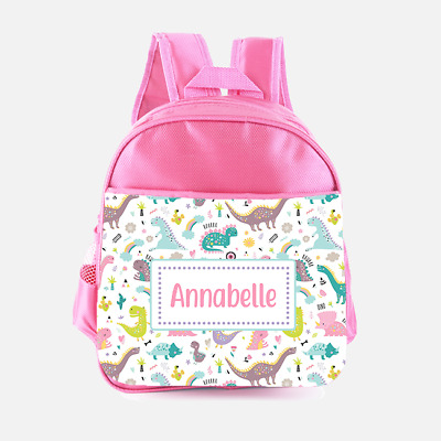 Personalised Pink Different Dinosaurs Girls Kids Backpack Childrens School Bag