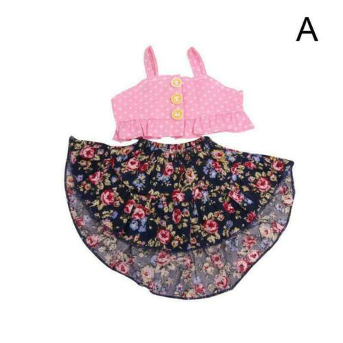 Doll Clothes Floral Skirt Pink//Purple Strap Vest Dolls Inches For 18 Suit G8L4
