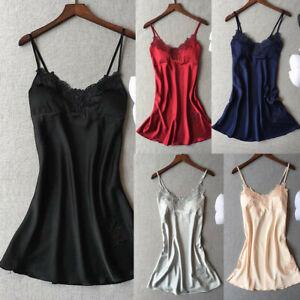 Vogue-Lingerie-Women-Silk-Robe-Dress-Babydoll-Nightdress-Nightgown-Sleepwear