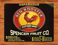 TIN Sign Red Rooster Asparagus Citrus Fruit Crate Rooster Chicken Farm Barn Coop