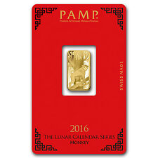 5 gram Gold Bar - Pamp Suisse Year of the Monkey (In Assay) - SKU #92808