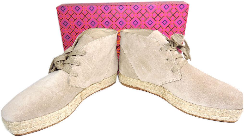 Tory Burch Burch Burch Rios Ankle Stiefel Flat Beige Logo Lace Up Espadrilles Stiefelies 9 Stiefel a1206b