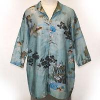 Citron Clothing Plus Size Linen Blend Teal Floral Jacket Tunic Blouse 1x