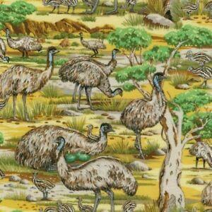 Fat-Quarter-Emus-Australian-Wildlife-Cotton-Quilting-Fabric-50-x-55cm-Nutex