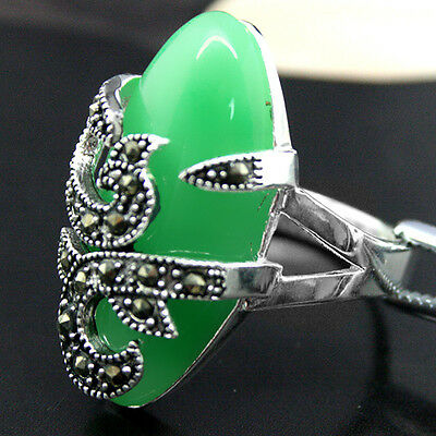 Natural Green Jade Gems 22X16mm 925 Sterling Silver Marcasite Ring Size 7//8//9//10