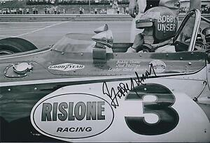 Bobby-Unser-SIGNED-Indianapolis-Raceway-12x8-Photo-AFTAL-COA-Autograph