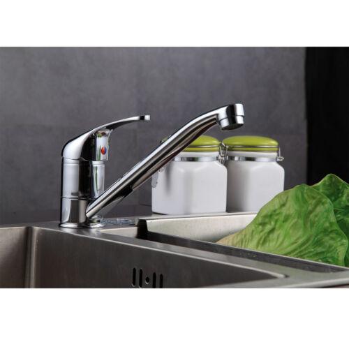 Modern Chrome Kitchen Sink Mono Bloc Single Lever Swivel Spout Mixer Tap Faucet