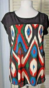 SALE NWT K&C Womens BLACK Printed STRETCH Panel Pullover TOP BLOUSE Sz SMALL $58