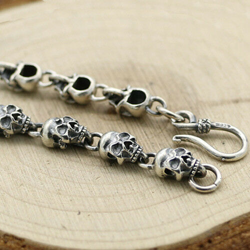 "Men's Real 925 Sterling Silver Bracelet  Link Chain Skulls Womens 6.3/"" 8.7/"""