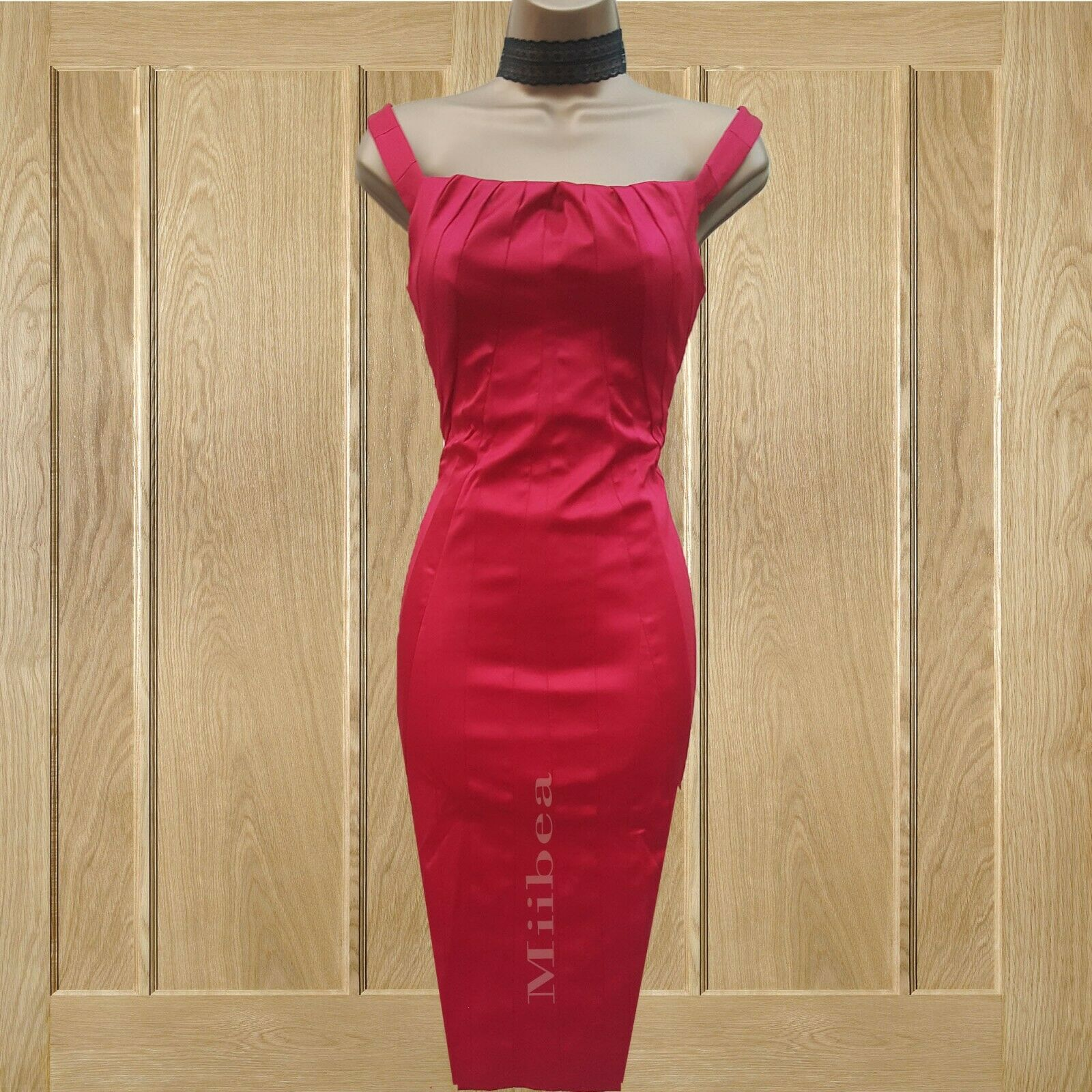 KAREN MILLEN Rosa Fuchsia Satin Pleat Wiggle Pencil Dress 10 UK Races Wedding