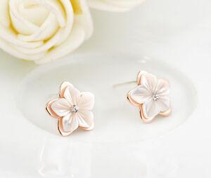 925-Silver-Ladies-Mother-of-Pearl-12MM-Star-Flower-Crystal-Silver-Stud-Earrings