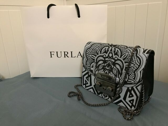 WT FURLA Black Light Gray Printed Leather Mini Metropolis Cross Body Bag 66a8fc53da030