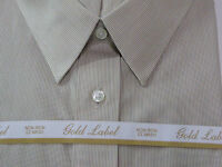 Roundtree & Yorke Gold Label Non Iron Ez Wash Striped Dress Shirt Tan White