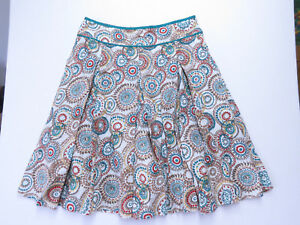 A-007-HOBBS-PURE-LINEN-Skirt-PRINTED-GEOMETRIC-STYLE-SIZE-16-AS-NEW