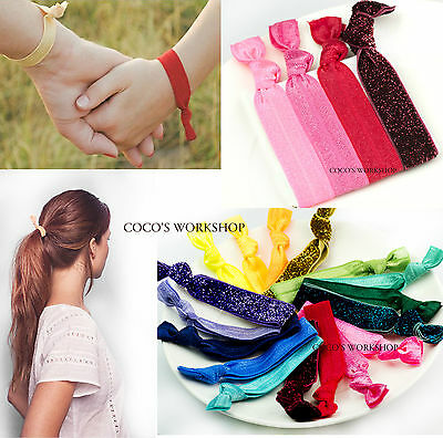 QUALITY HAIRBAND HAIR TIES 4 IN 1 SET FRIENDSHIP BRACELET ELASTIC PONYTAIL GIFT