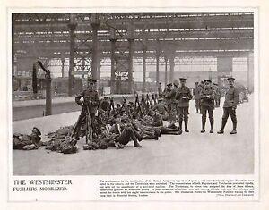 1914-Estampado-WWI-de-Westminster-Fusileros-Waiting-Para-Tropas-Tren-Waterloo