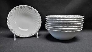 Sovereign-Potters-Johnson-Bros-England-Ironstone-Sylvania-Set-of-8-Cereal-Bowls