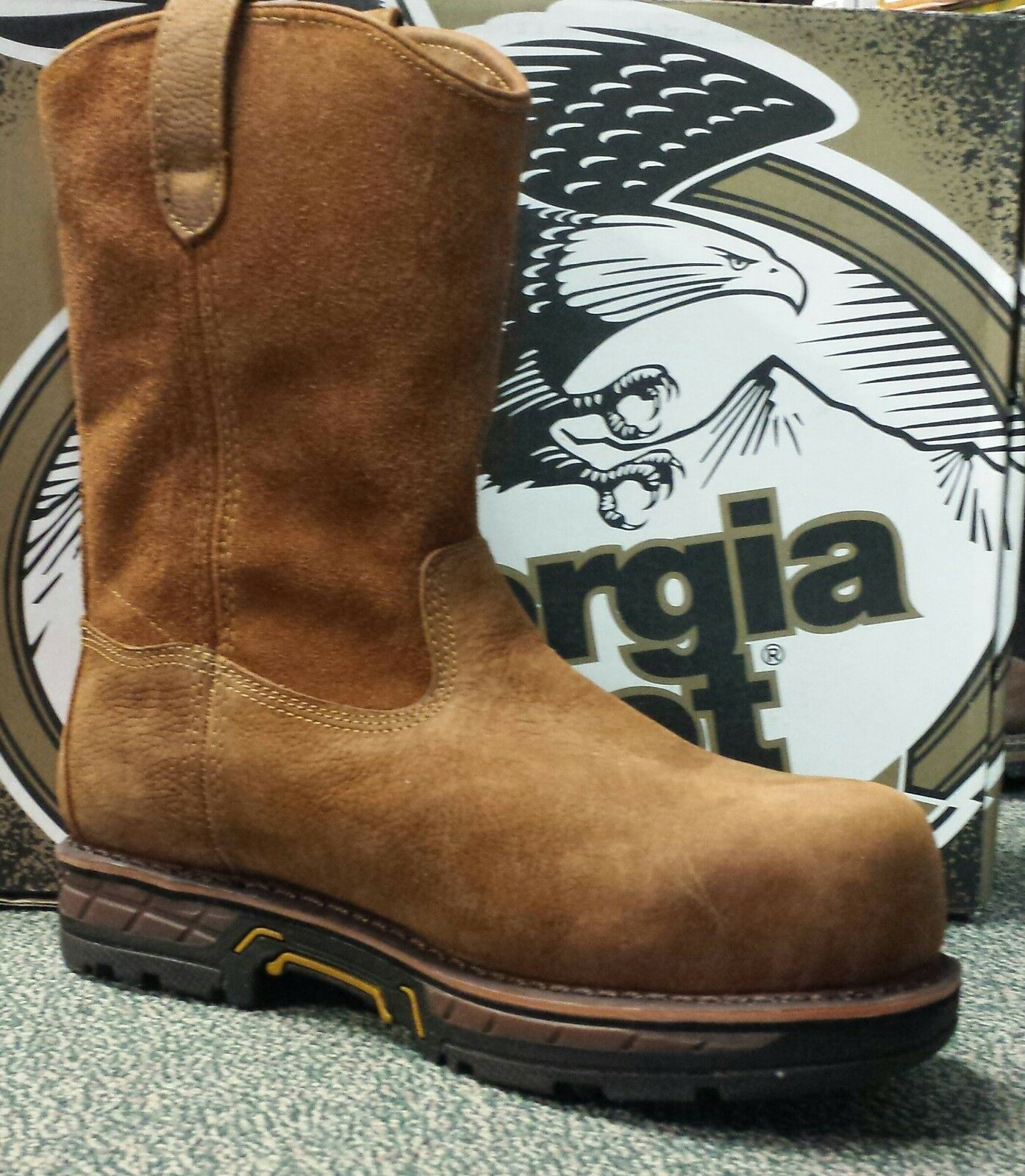 NEW Mens Size 9.5W Georgia Safety Comp Toe Waterproof Leather Work Boots GBOT021