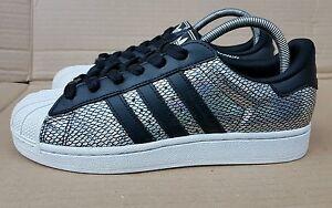Toe Shell 4 Feuille Adidas taille Uk Superstar ArgentNoir Baskets Holographique rxdCeQBoWE