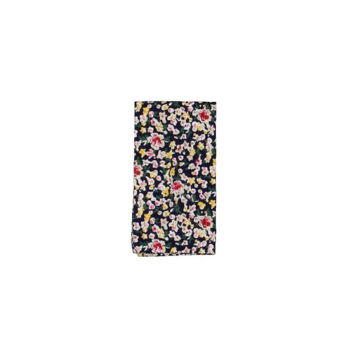 The Gift Men's Pocket Square Navy Blue Hanning Floral Print Accessory #650