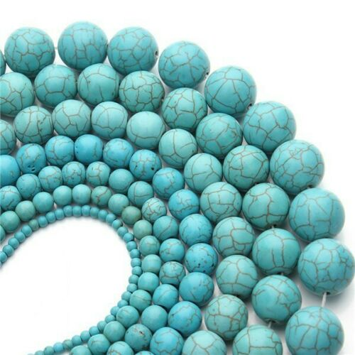 100PCS Round Natural Green Turquoise Beads Craft DIY Charms Spacer Beads 4-10MM