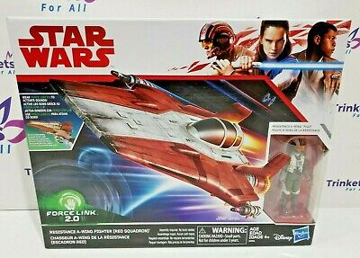 """Star Wars Force Link 2.0 Resistance A-Wing Fighter Red Squadron With Pilot 3.75/"""""""