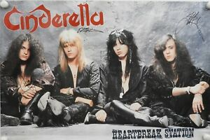 Cinderella-JSA-Signed-Autograph-Promo-Poster-Full-Band-Tom-Kiefer
