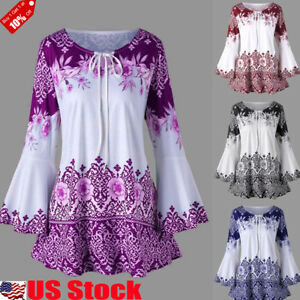 Women-039-s-Long-Bell-Sleeve-Tops-Lace-Up-Casual-Tunic-Floral-Print-Shirt-Blouse-US