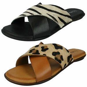 2fbef448ee Details about LADIES LEATHER COLLECTION ANIMAL PRINT SLIP ON FLAT MULES  SUMMER SANDALS F0935