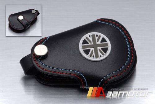 BMW MINI Cooper S Union Jack UK Black Genuine Leather Key Cover JCW Clubman