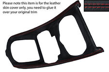 RED STITCHING GEAR SURROUND TRIM LEATHER COVER FITS PEUGEOT 307 & 307CC