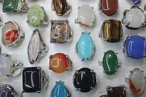 Grosshandel-gemischter-25st-Viele-Natuerliche-mix-Farbe-Stein-Schmuck-Ringe