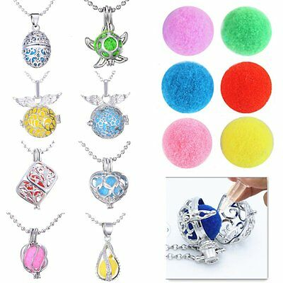 Locket Necklace Fragrance Essential Oil Aromatherapy Diffuser Pendant + 6 Pads