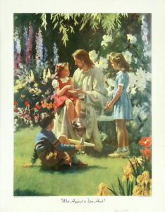 HARRY-ANDERSON-Vintage-1945-Print-Jesus-Christ-WHAT-HAPPENED-TO-YOUR-HAND