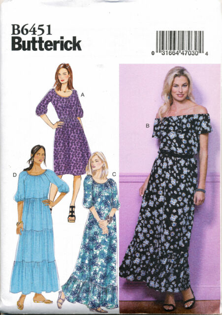 Butterick Sewing Pattern 6451 Misses Gathered Blouson Dresses Size 4 ...