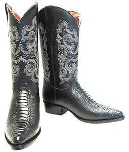 Men's New TW Ostrich Leg Design Leather Cowboy Western Rodeo J Toe Boots Black